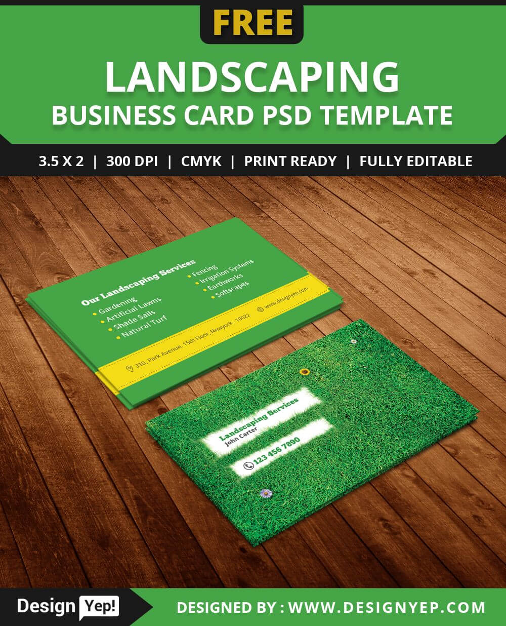 Free Landscaping Business Card Template Psd | Free Business With Regard To Gardening Business Cards Templates