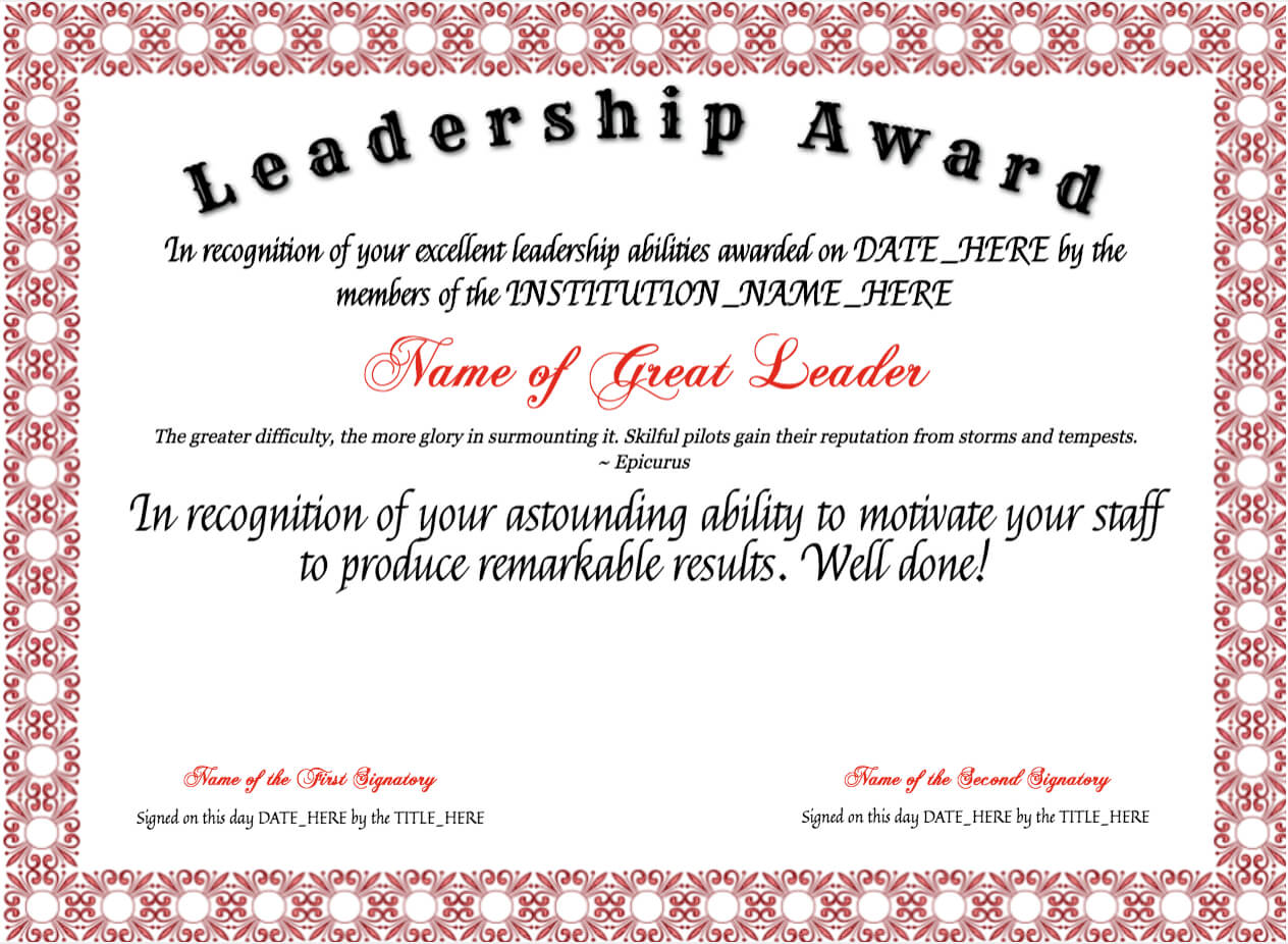 Free Leadership Award At Clevercertificates | Leadership inside Leadership Award Certificate Template
