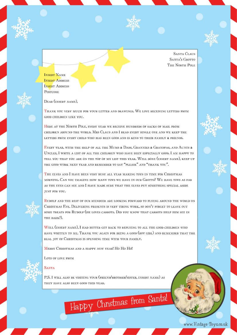 """Free """"Letter From Santa"""" Template For You To Download And Throughout Santa Letter Template Word"""