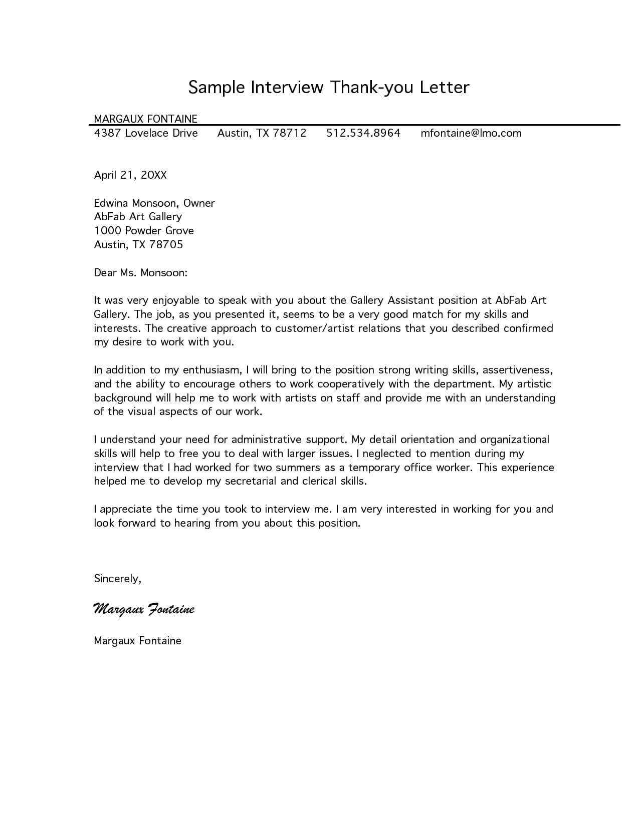 Free Letter Of Interest Templates   Sample Interview Thank throughout Letter Of Interest Template Microsoft Word