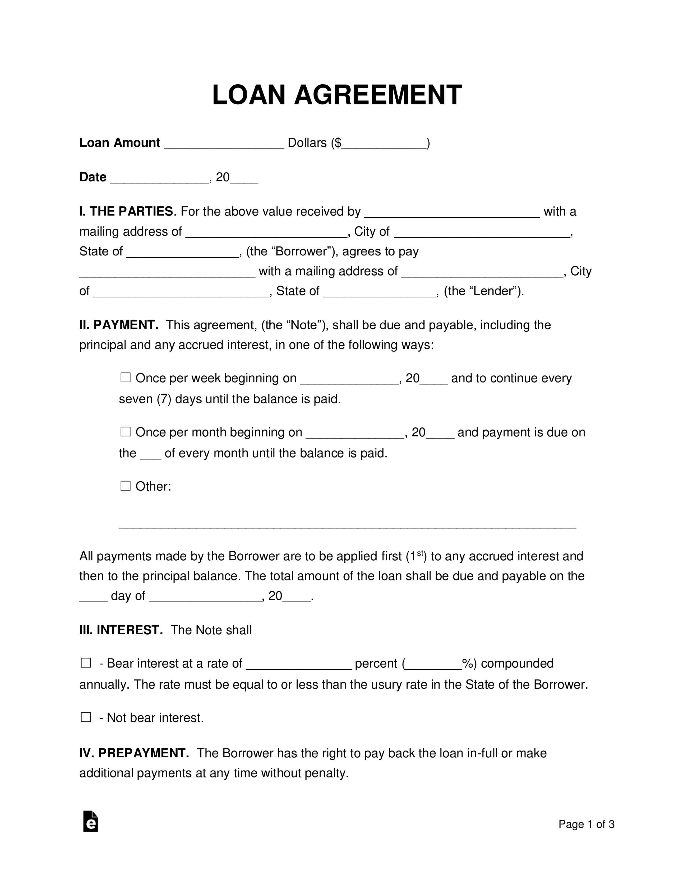 Free Loan Agreement Templates - Pdf | Word | Eforms – Free In Blank Loan Agreement Template