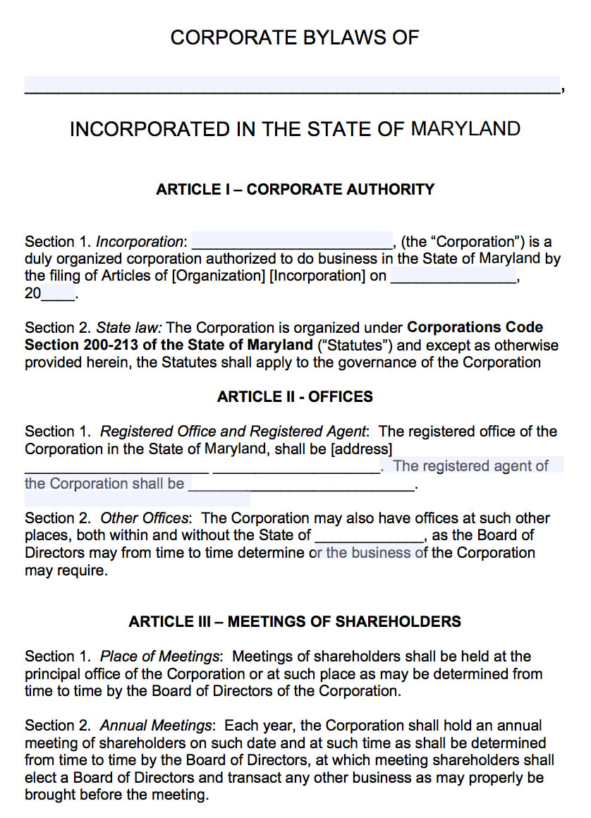 Free Maryland Corporate Bylaws Template | Pdf | Word | throughout Corporate Bylaws Template Word