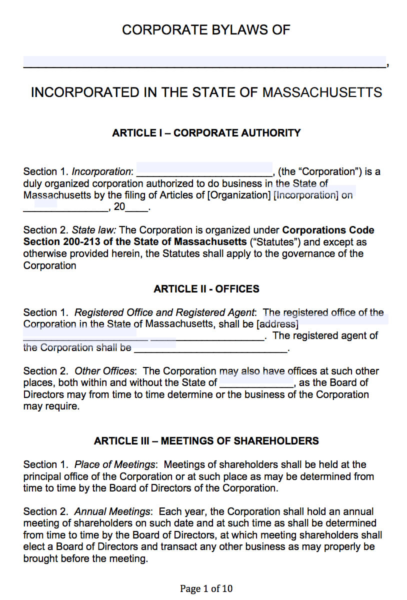Free Massachusetts Corporate Bylaws Template | Pdf | Word | intended for Corporate Bylaws Template Word