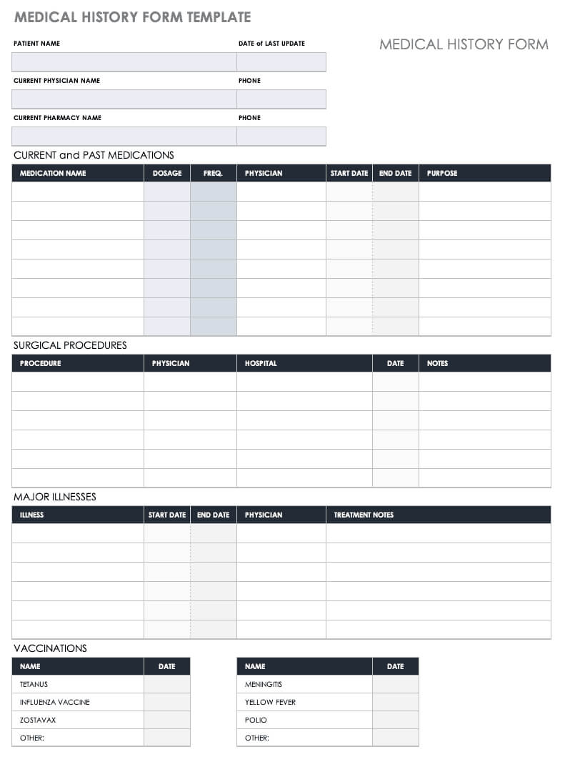 Free Medical Form Templates | Smartsheet within Medical History Template Word