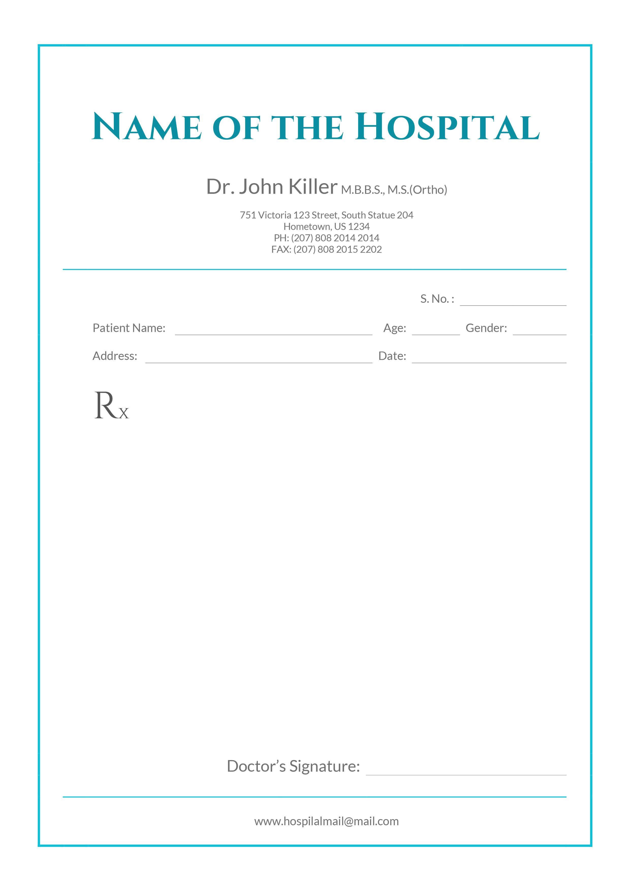 Free Medical Prescription Format | Medical Prescription with Blank Prescription Pad Template