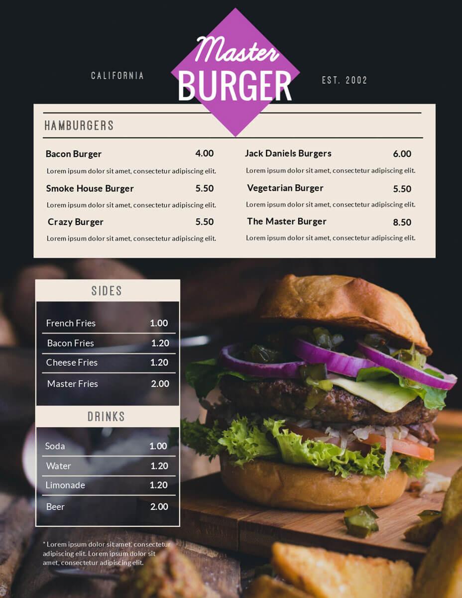 Free Menu Maker | Menu Creator | Visme pertaining to Frequent Diner Card Template