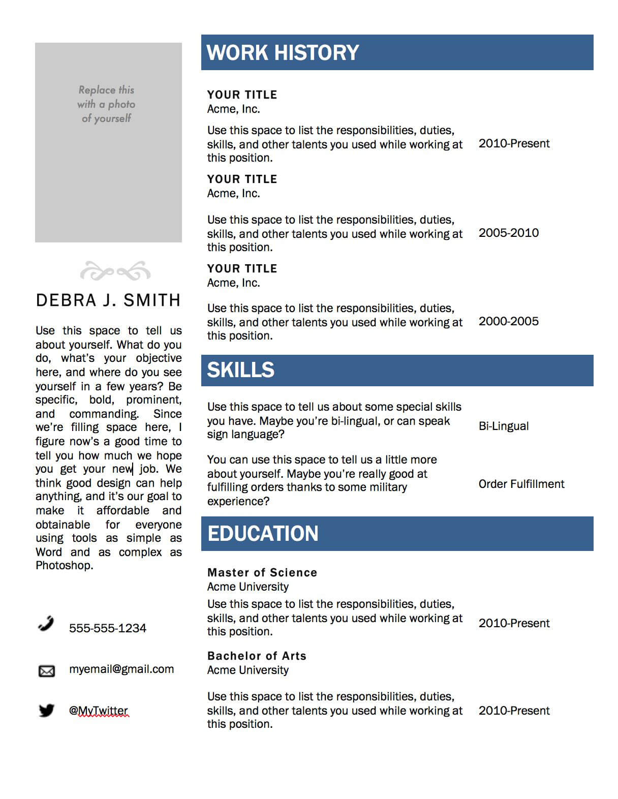 Free Microsoft Word Resume Template   Microsoft Resume For Resume Templates Microsoft Word 2010
