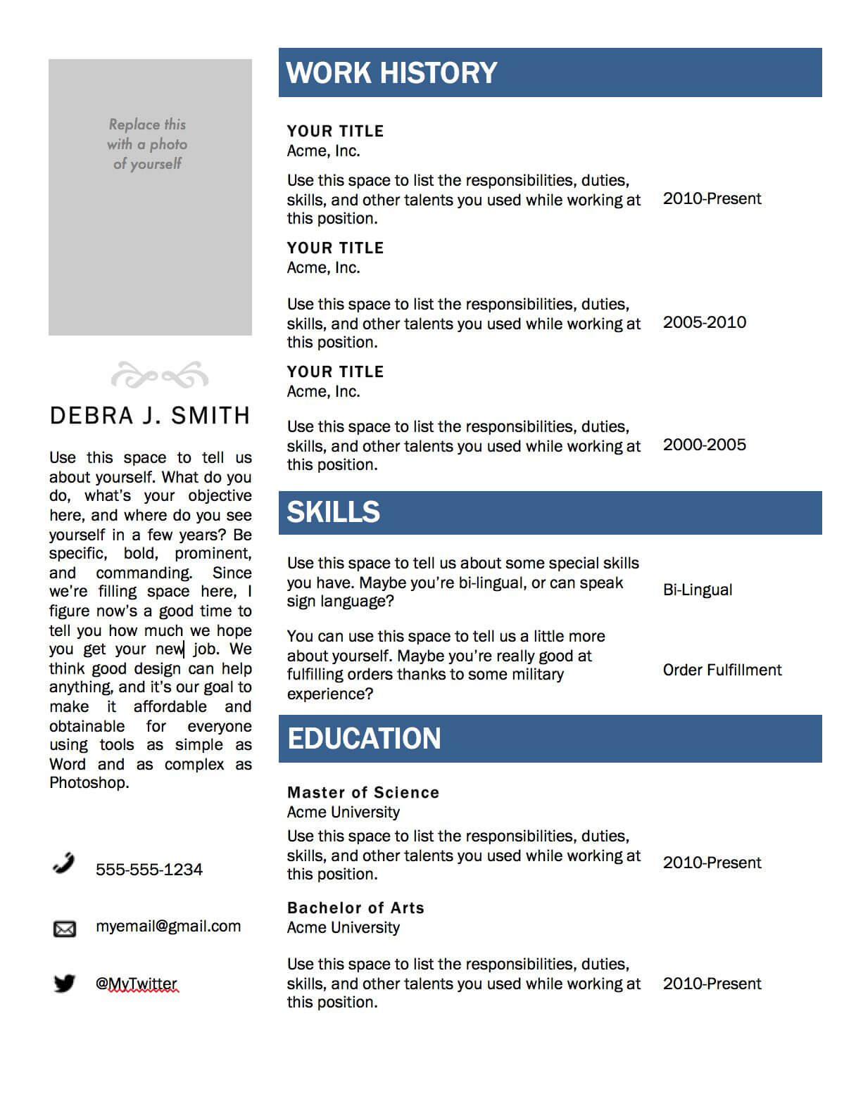 Free Microsoft Word Resume Template   Microsoft Resume With Regard To Resume Templates Word 2010