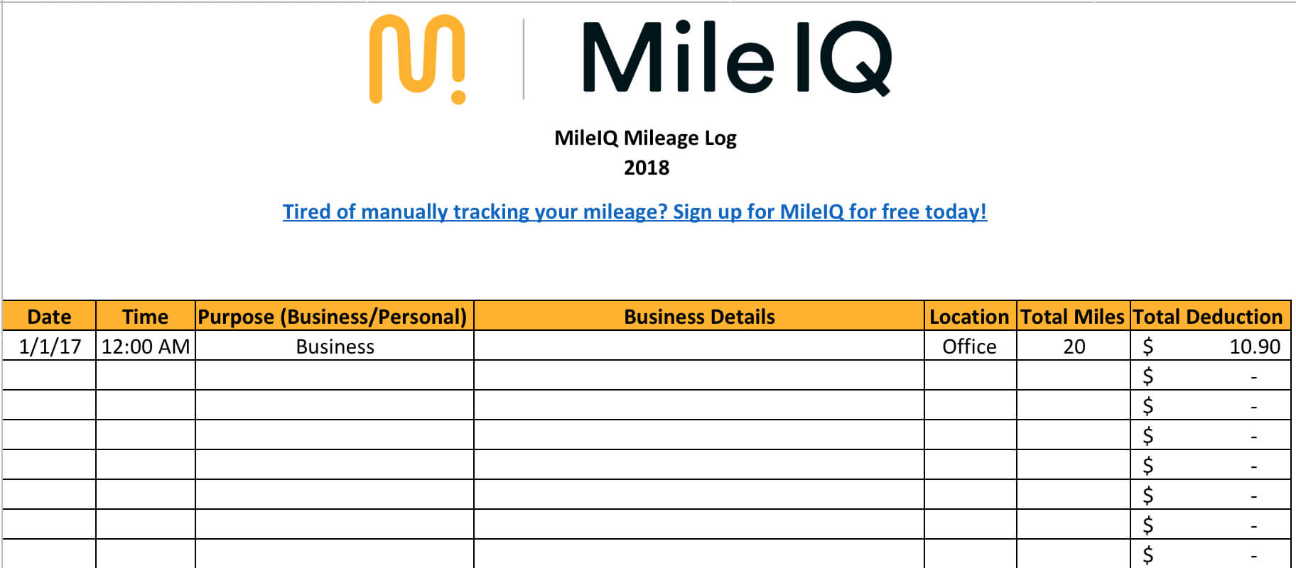 Free Mileage Log Template For Taxes, Track Business Miles in Mileage Report Template