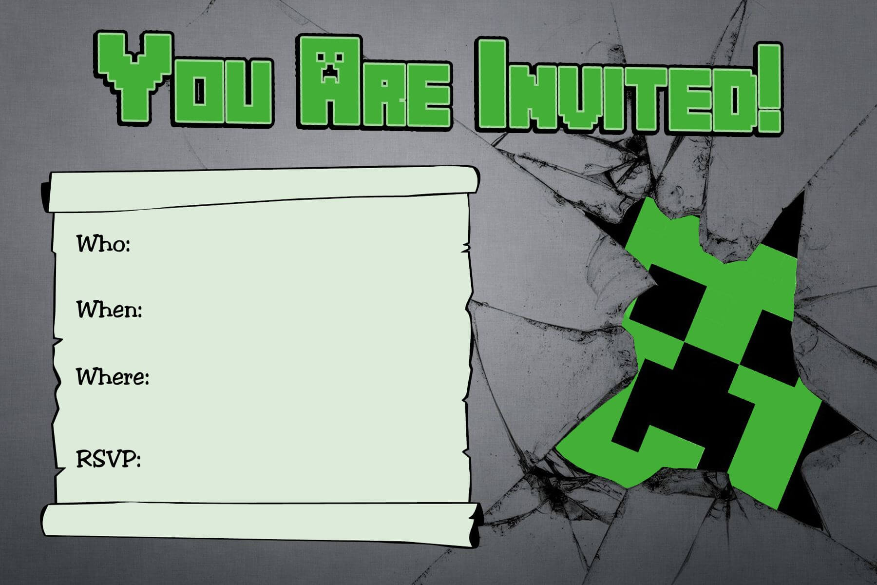 Free Minecraft Creeper Inspired Birthday Invitation intended for Minecraft Birthday Card Template