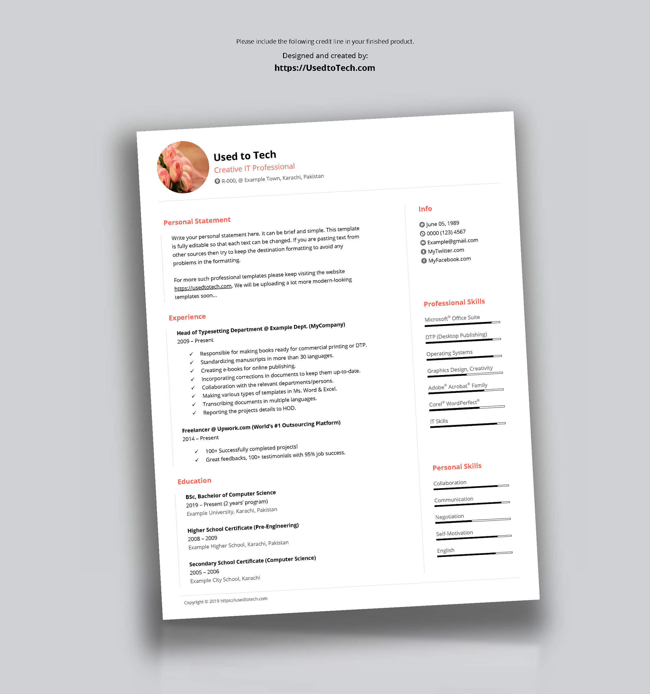 Free Minimal Cv Template In Ms Word - Used To Tech with How To Make A Cv Template On Microsoft Word