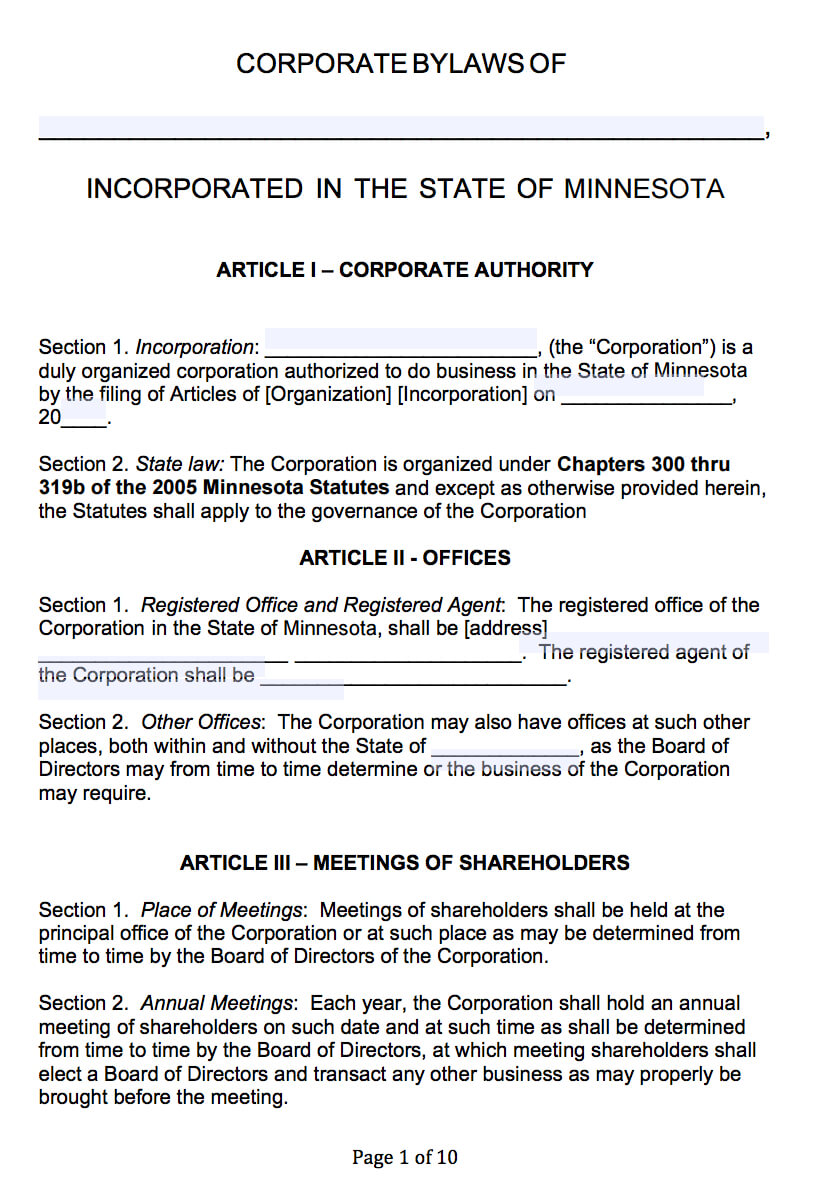 Free Minnesota Corporate Bylaws Template | Pdf | Word | Inside Corporate Bylaws Template Word