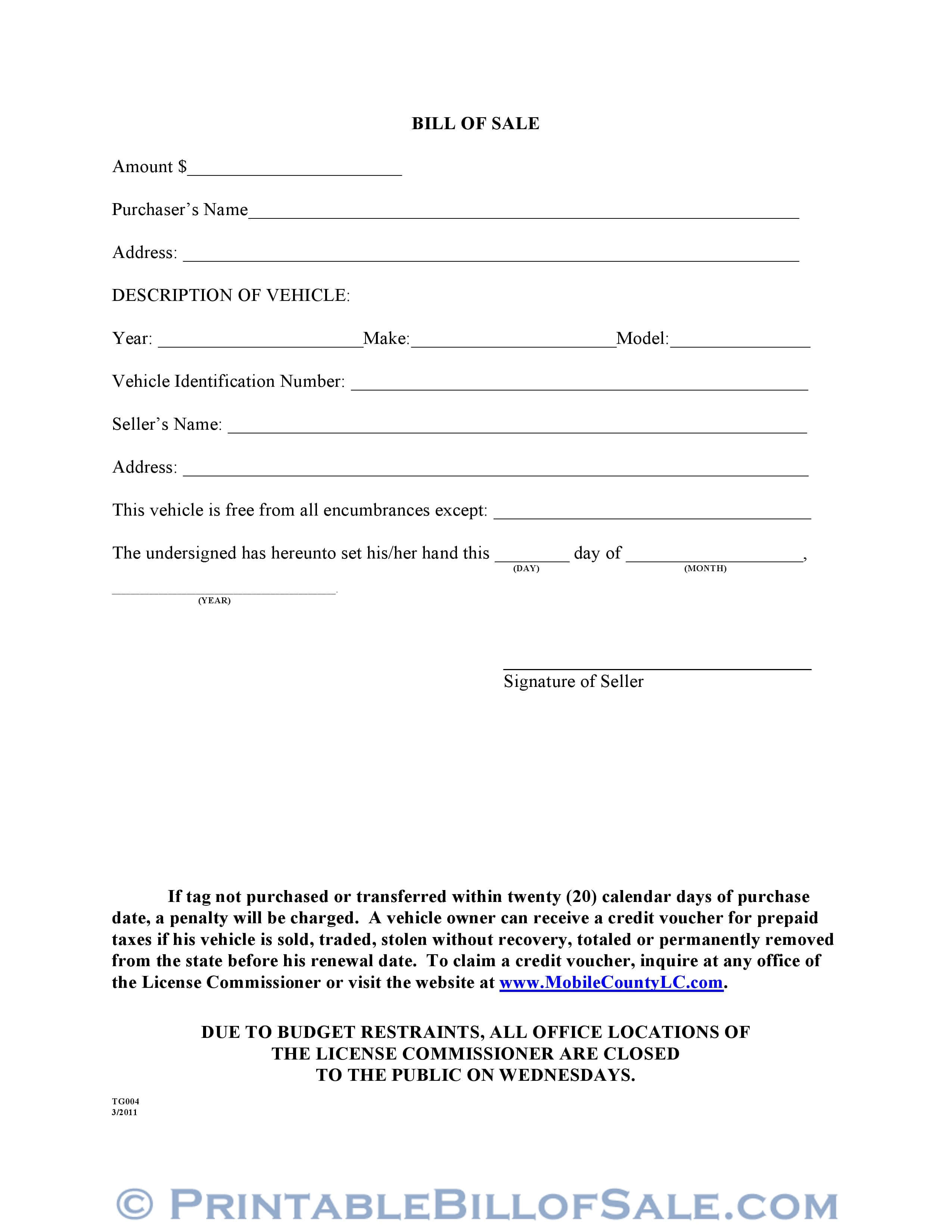 Free Mobile County Alabama Motor Vehicle Bill Of Sale Form with Car Bill Of Sale Word Template