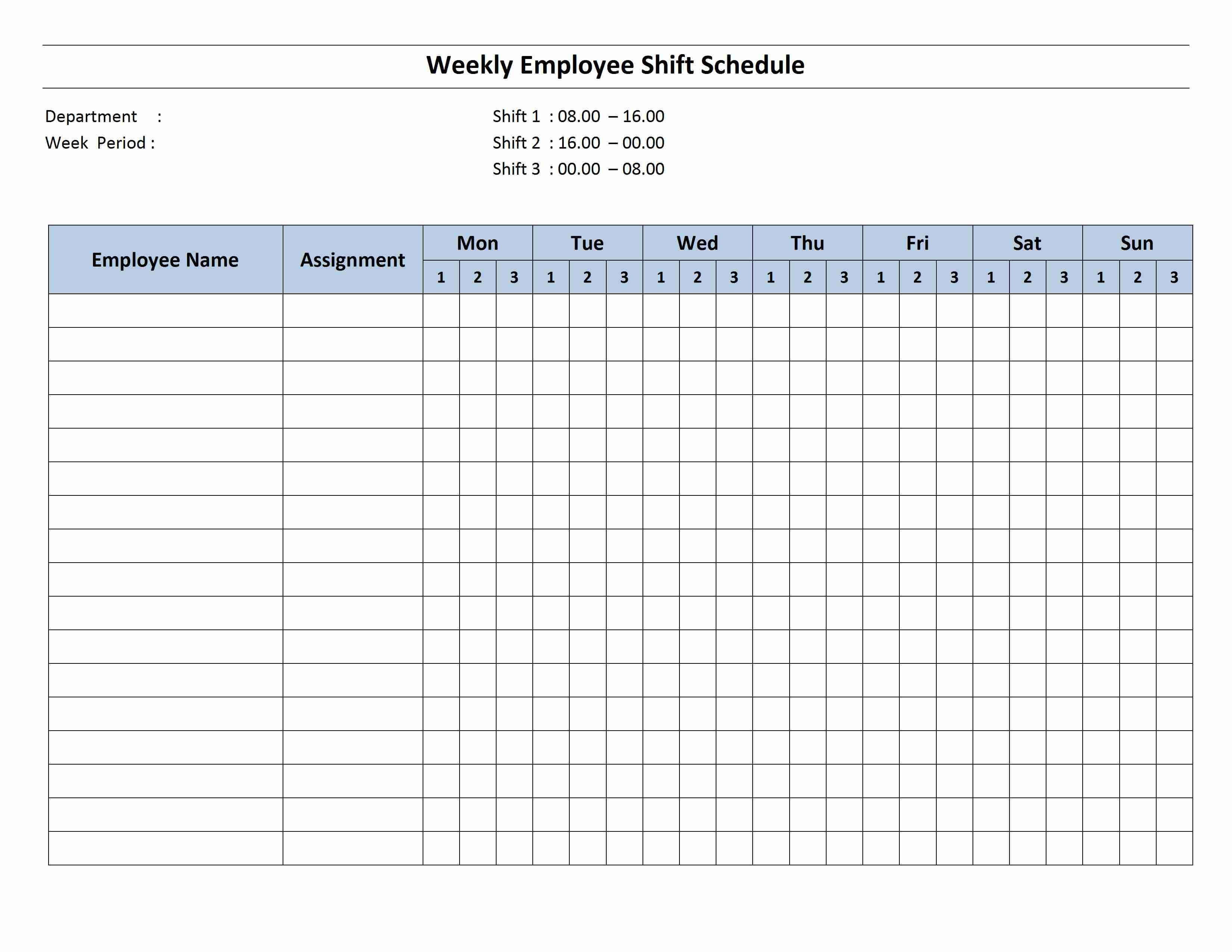 Free Monthly Work Schedule Template | Weekly Employee 8 Hour Regarding Blank Monthly Work Schedule Template