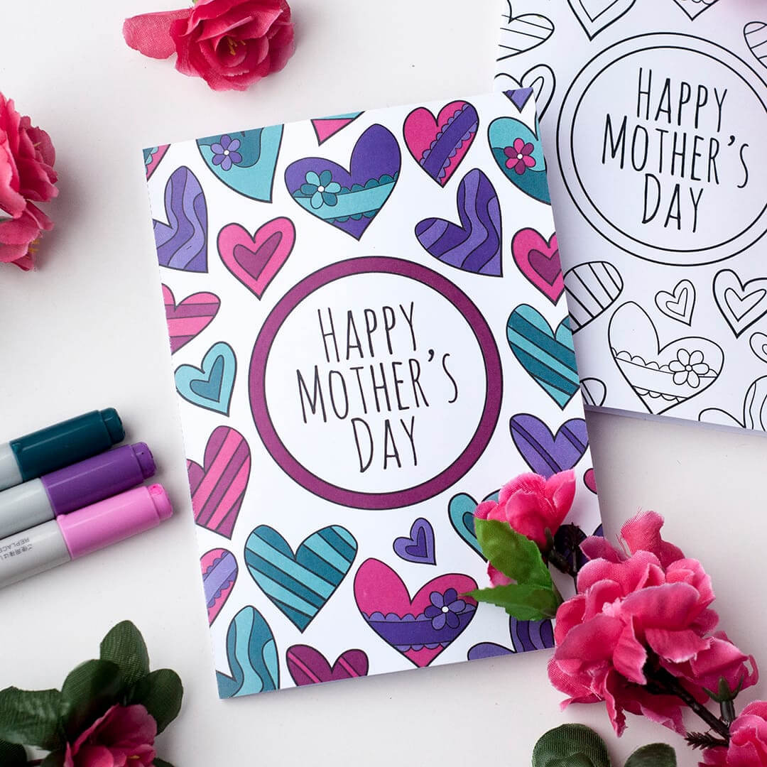 Free Mother's Day Coloring Card intended for Mothers Day Card Templates
