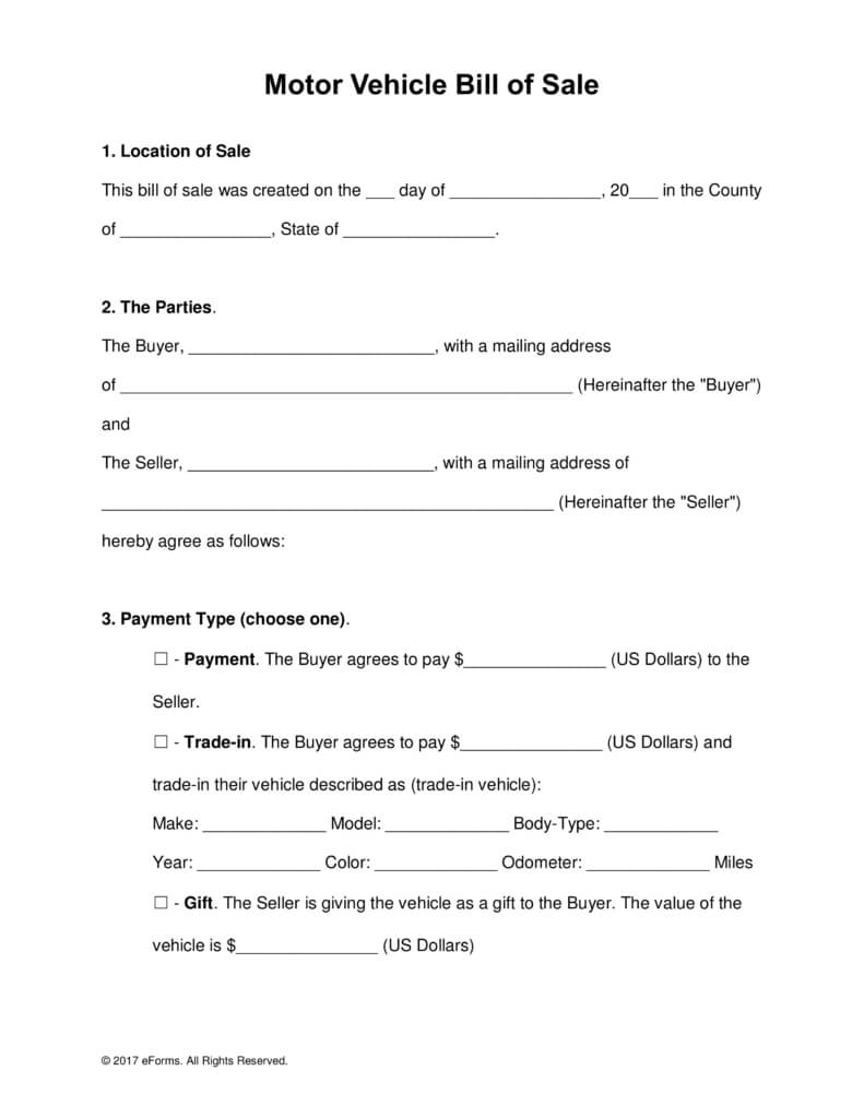 Free Motor Vehicle (Dmv) Bill Of Sale Form - Word | Pdf With Car Bill Of Sale Word Template