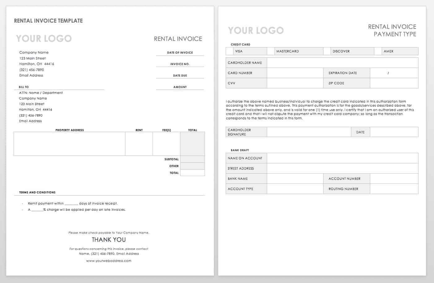 Free Ms Word Invoices Templates   Smartsheet with regard to Web Design Invoice Template Word
