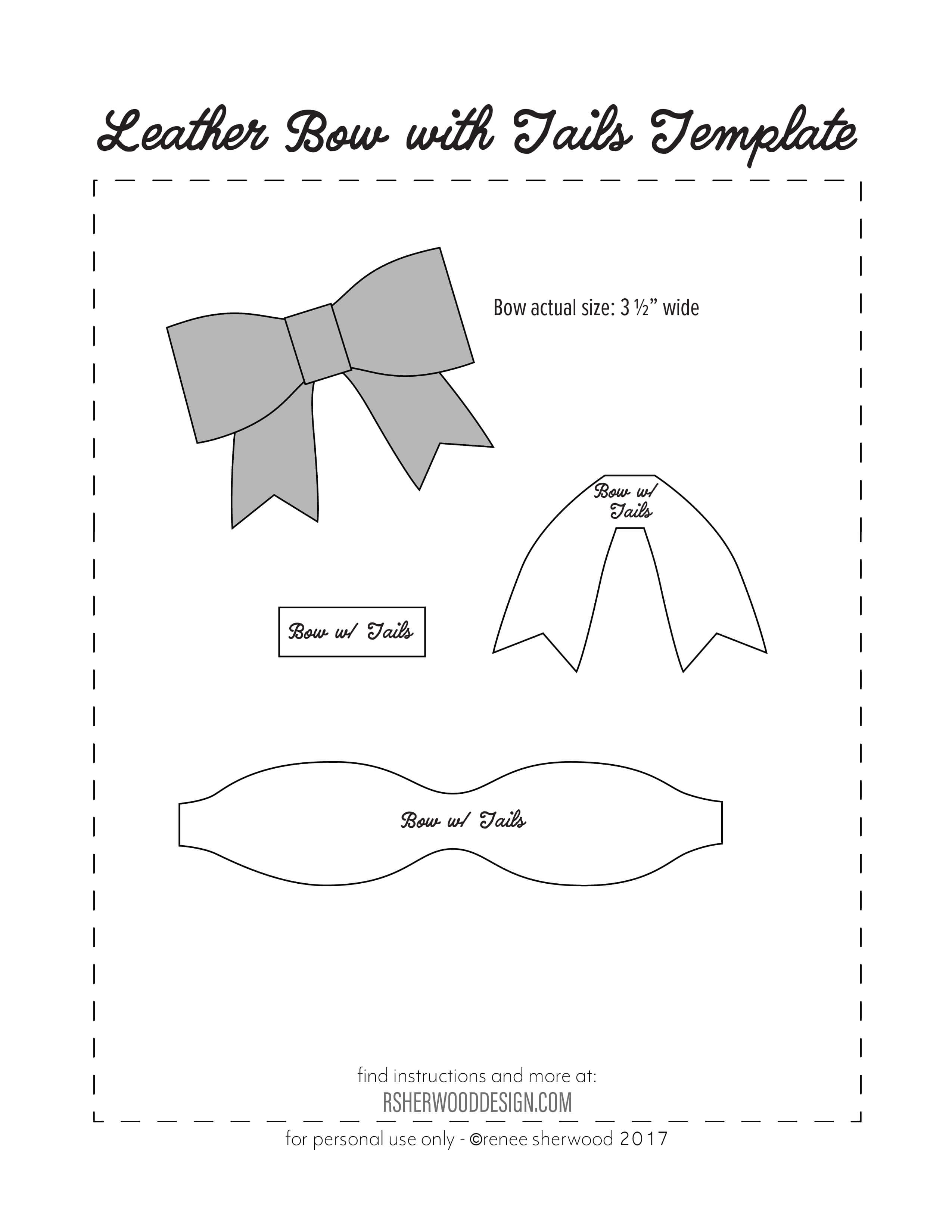 Free No Sew Leather Or Felt Bow Template Download At Www inside Headband Card Template