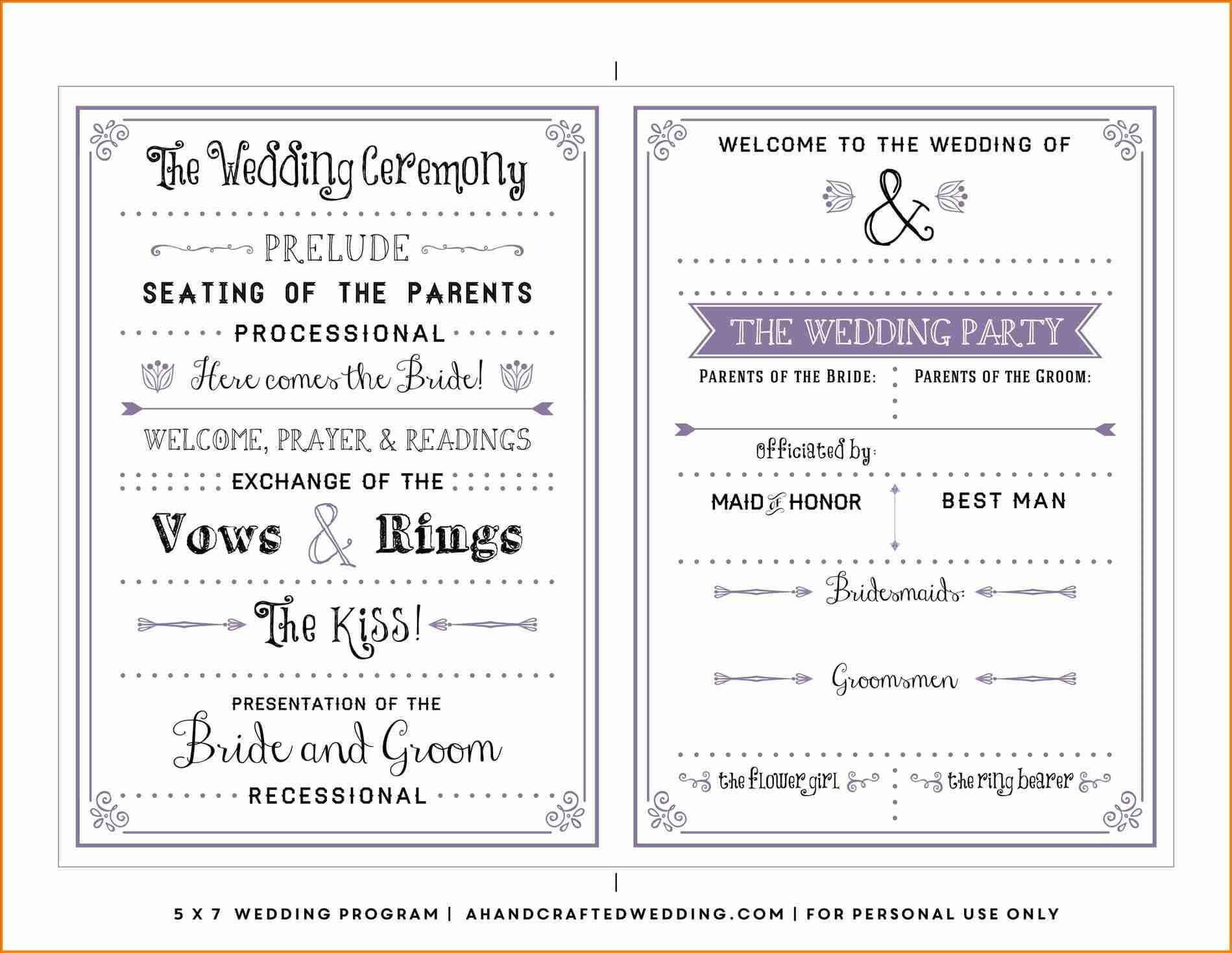Free One Page Wedding Program Templates For Microsoft Word Intended For Free Printable Wedding Program Templates Word