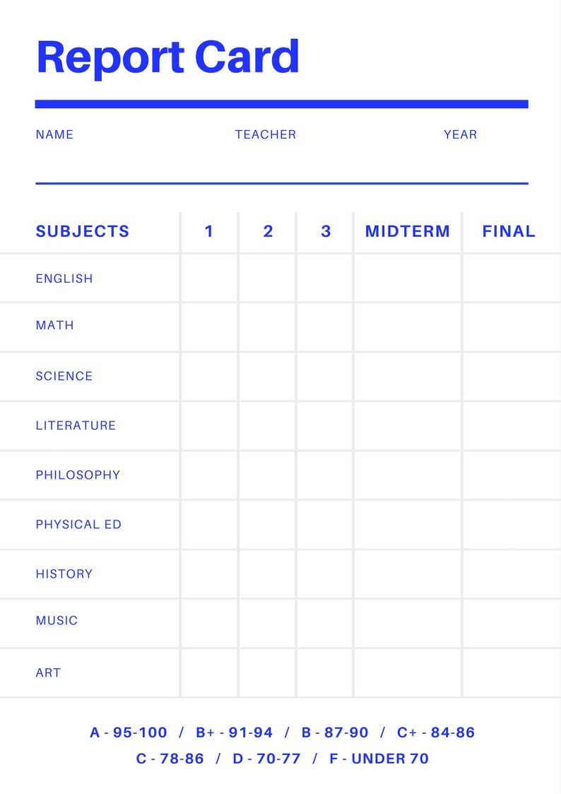 Free Online Report Card Maker: Design A Custom Report Card Intended For Report Card Format Template