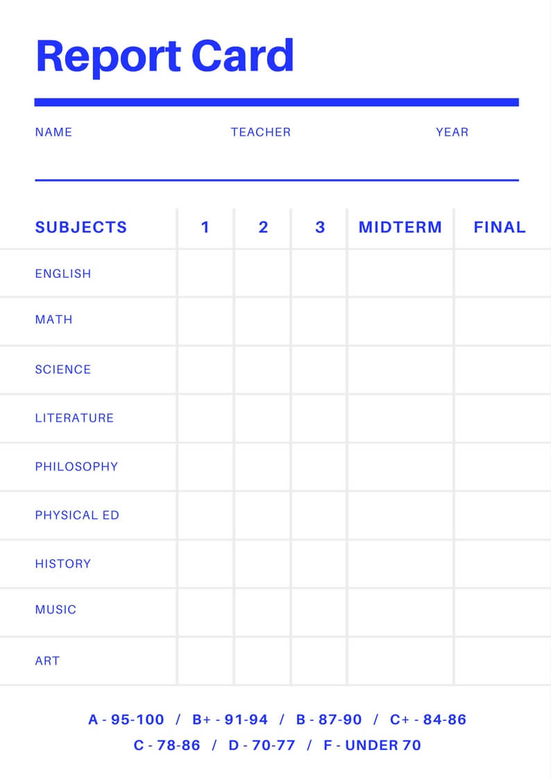 Free Online Report Card Maker: Design A Custom Report Card Within Fake Report Card Template