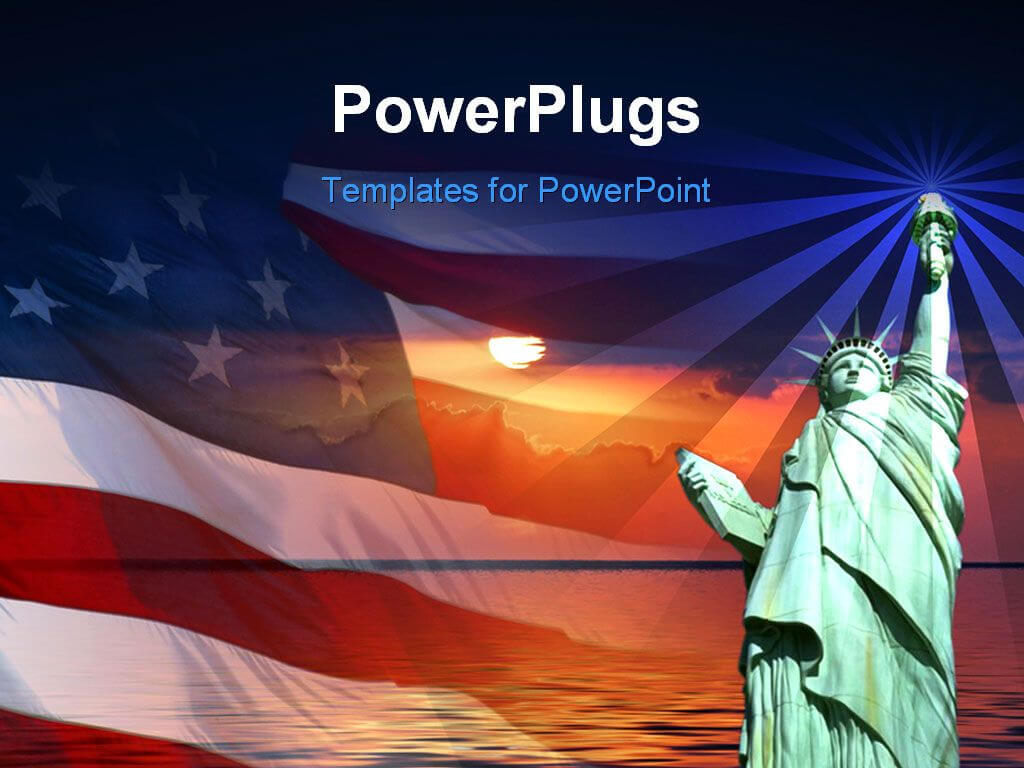 Free Powerpoint Template - Symbol Of America, Flag, Sunrise regarding American Flag Powerpoint Template