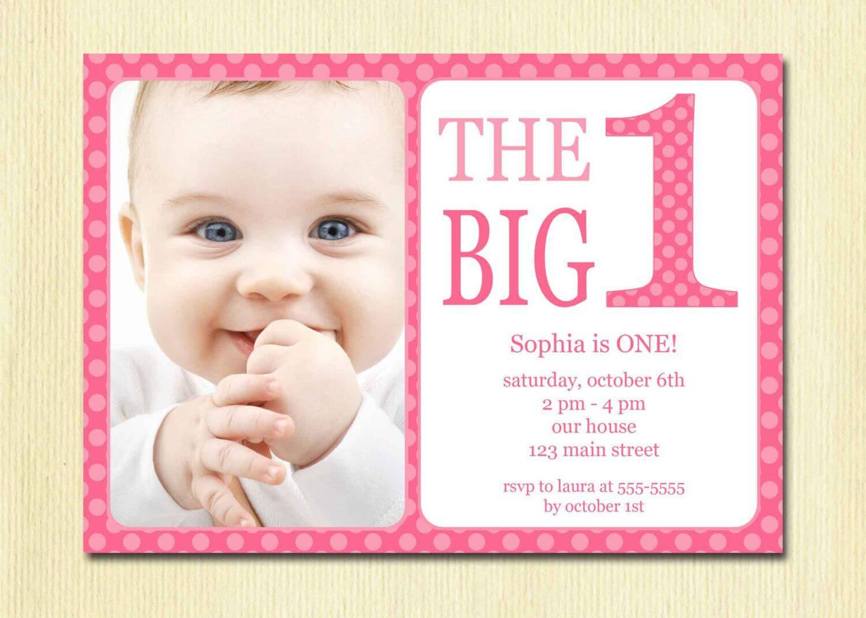 Free Printable 1St Birthday Invitation Template   Birthday Inside First Birthday Invitation Card Template