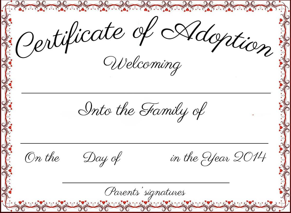 Free Printable Adoption Certificate | Mult-Igry inside Adoption Certificate Template