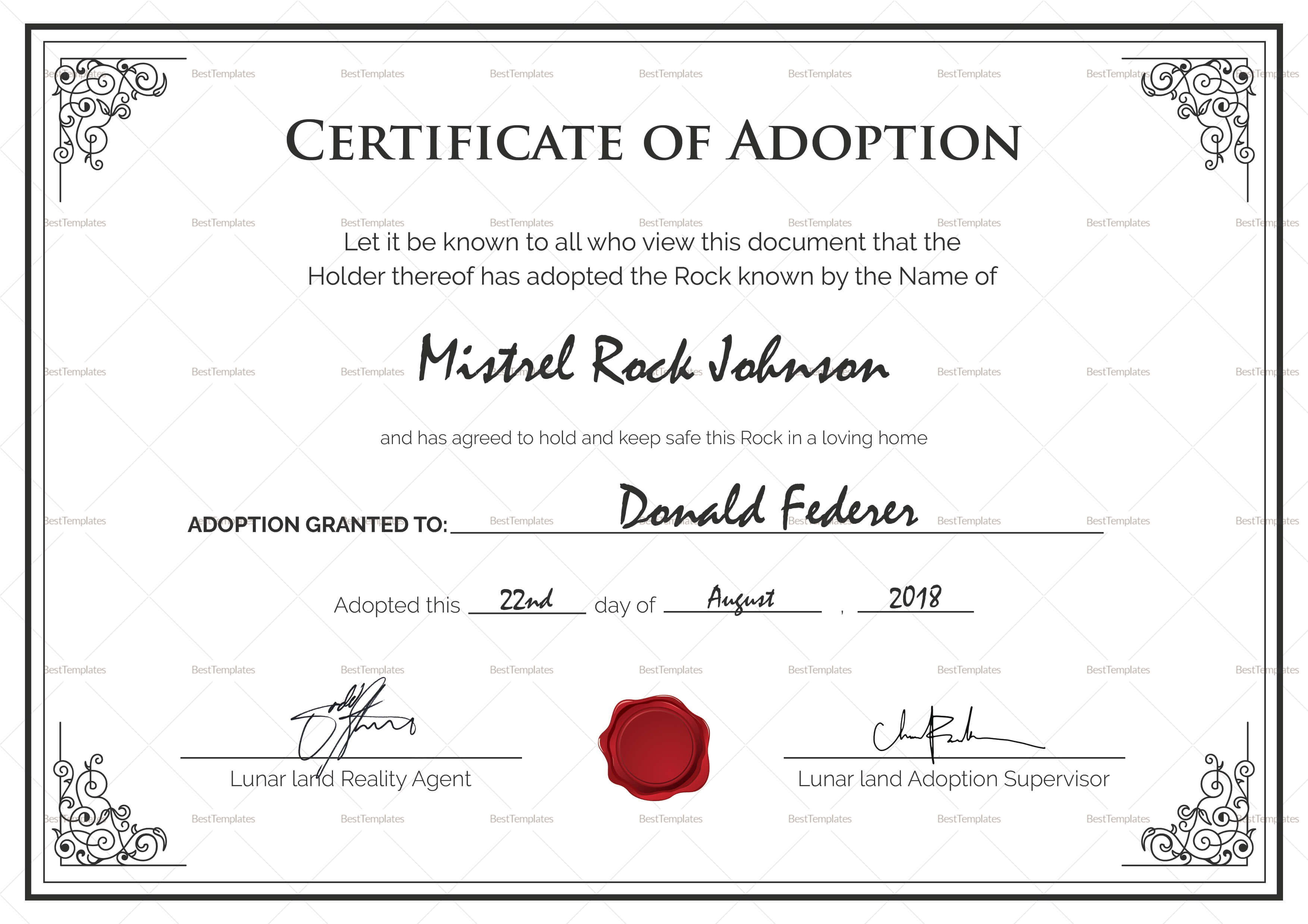 Free Printable Adoption Certificate | Mult-Igry within Blank Adoption Certificate Template