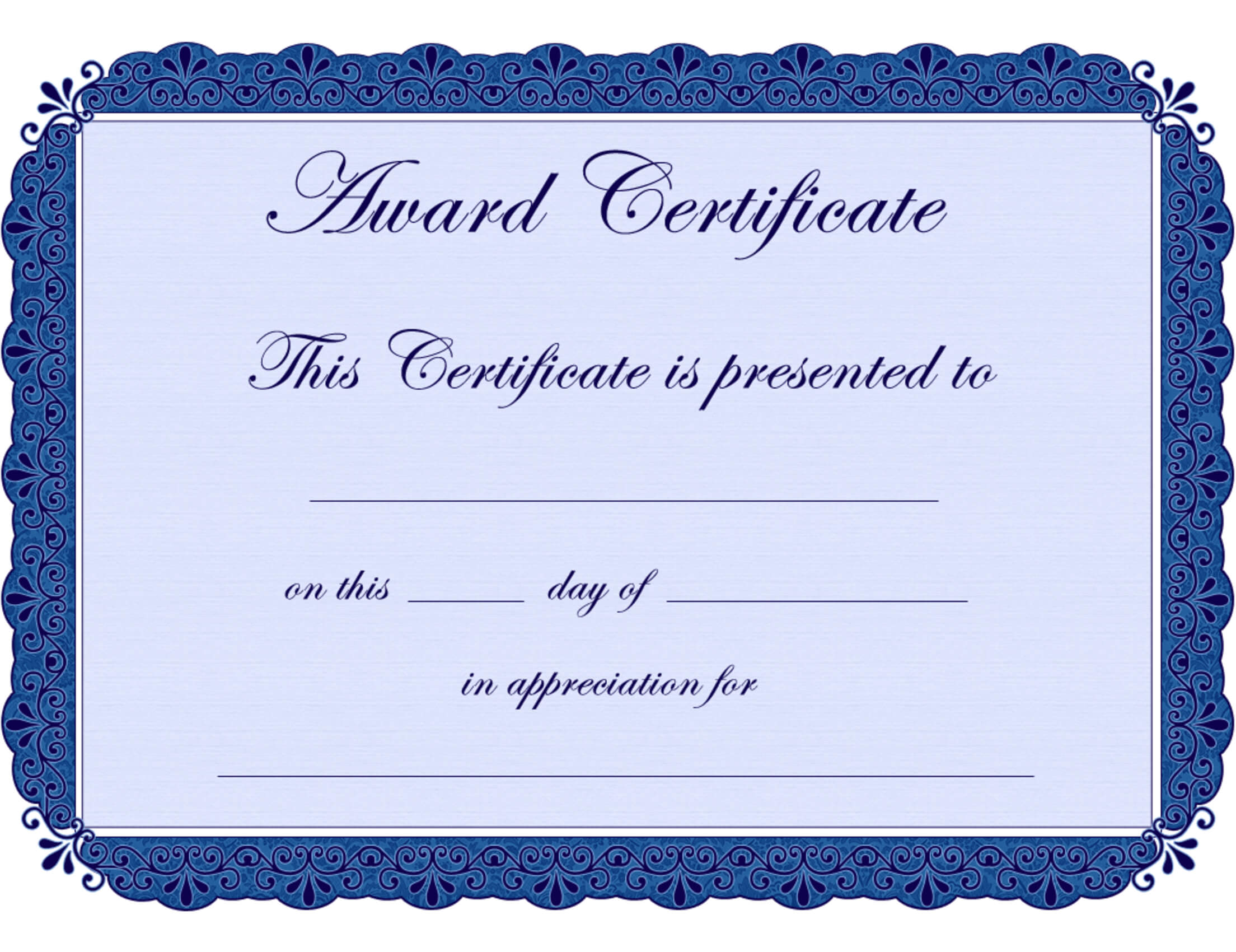 Free Printable Award Certificate Borders |  Award with Certificate Of Achievement Template Word