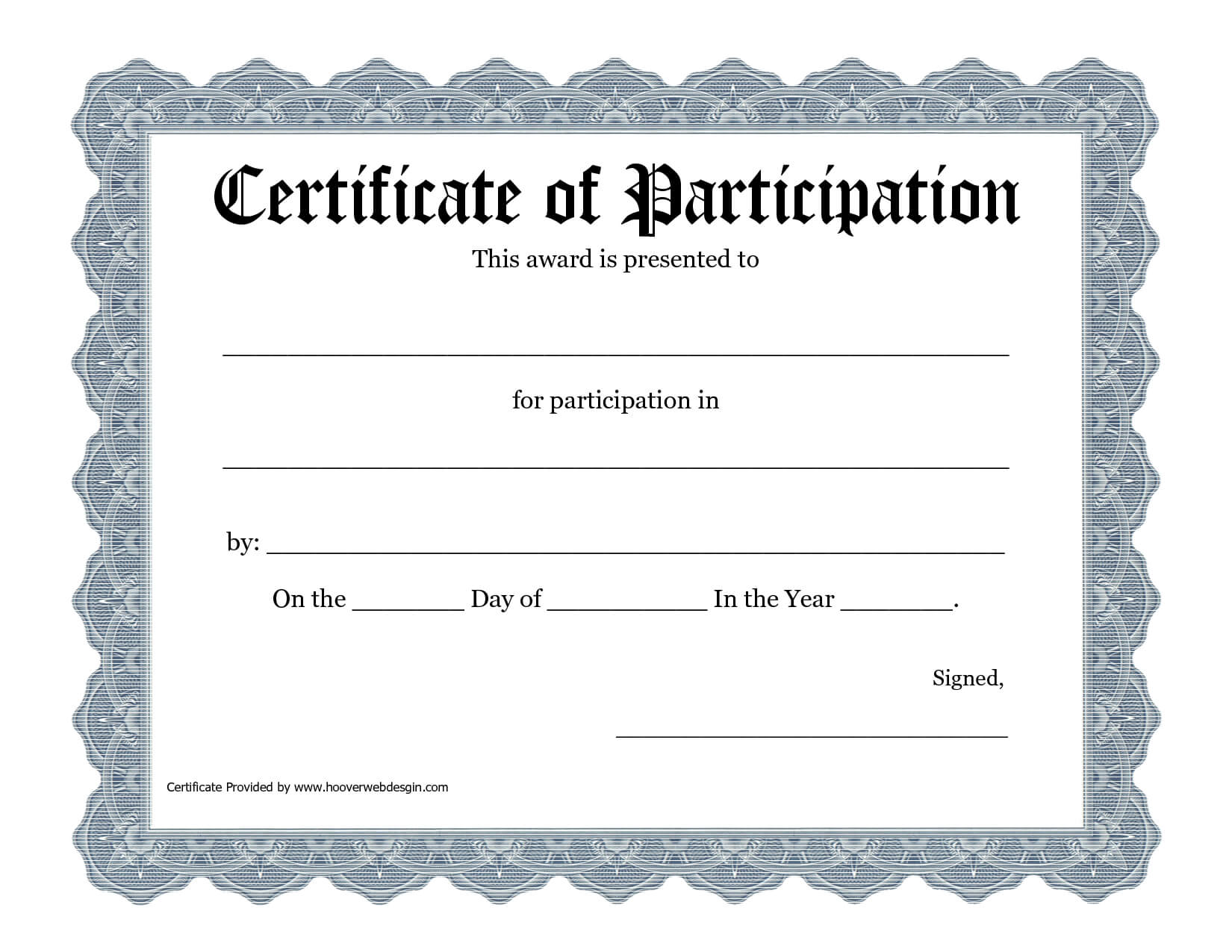 Free Printable Award Certificate Template - Bing Images For Templates For Certificates Of Participation