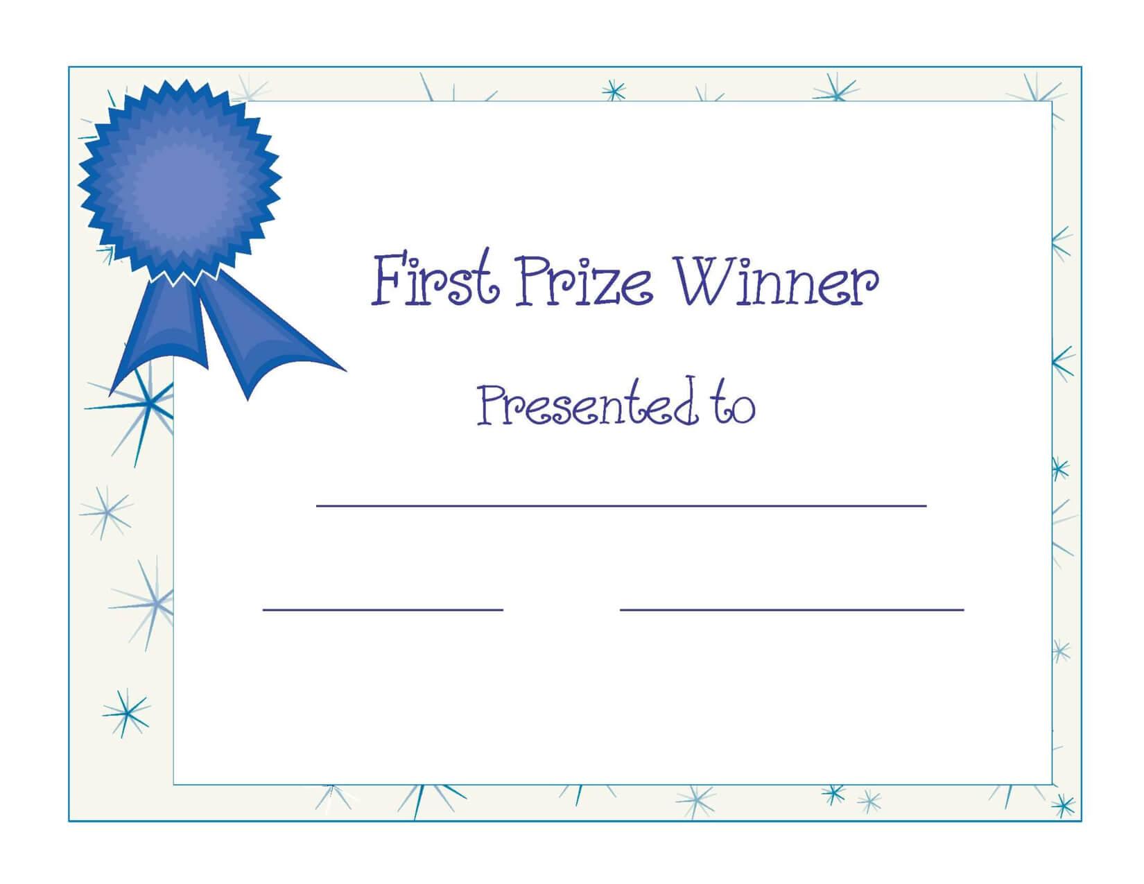 Free Printable Award Certificate Template | Free Printable in First Place Award Certificate Template