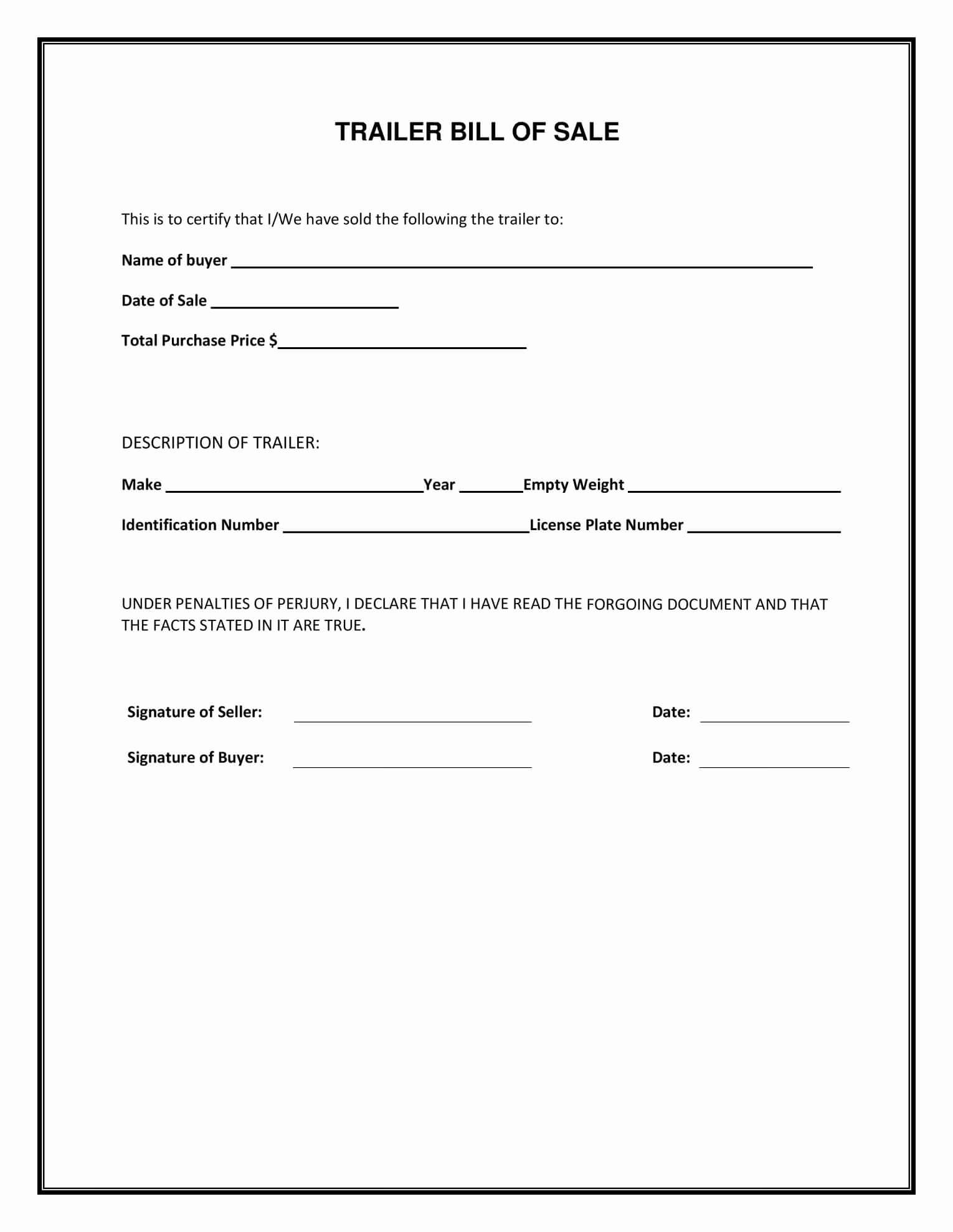 Free Printable Bill Of Sale For A Car Blank Vehicle Form Pdf for Vehicle Bill Of Sale Template Word