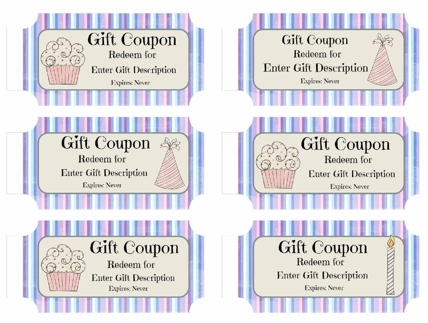 Free Printable Birthday Coupons Templates Gift Certificates intended for Blank Coupon Template Printable