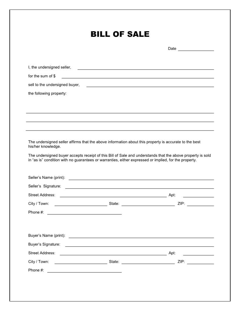 Free Printable Blank Bill Of Sale Form Template - As Is Bill In Blank Legal Document Template