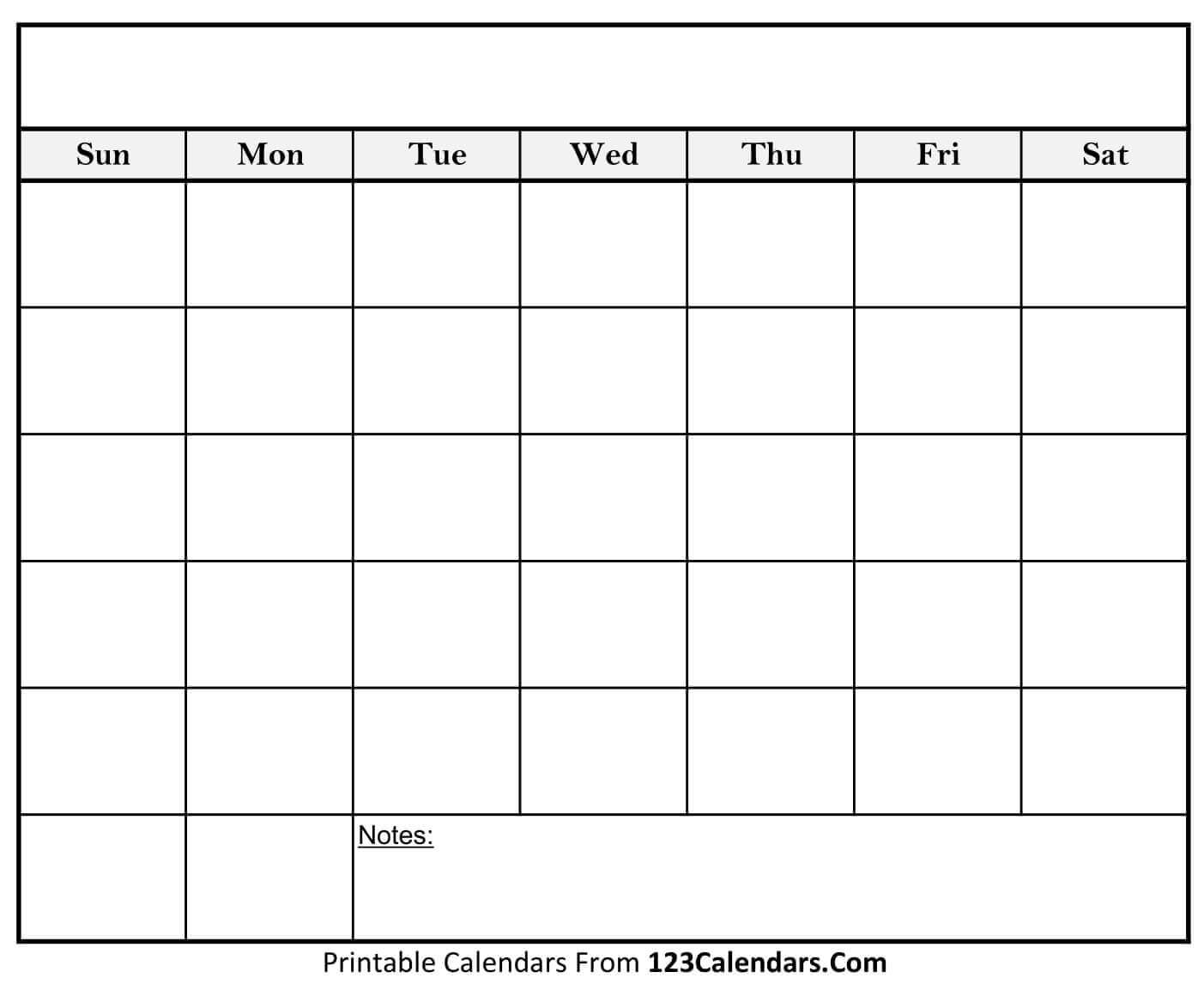 Free Printable Blank Calendar   123Calendars inside Blank Calender Template