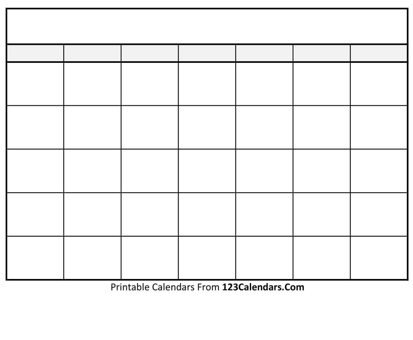 Free Printable Blank Calendar   123Calendars pertaining to Blank Calender Template