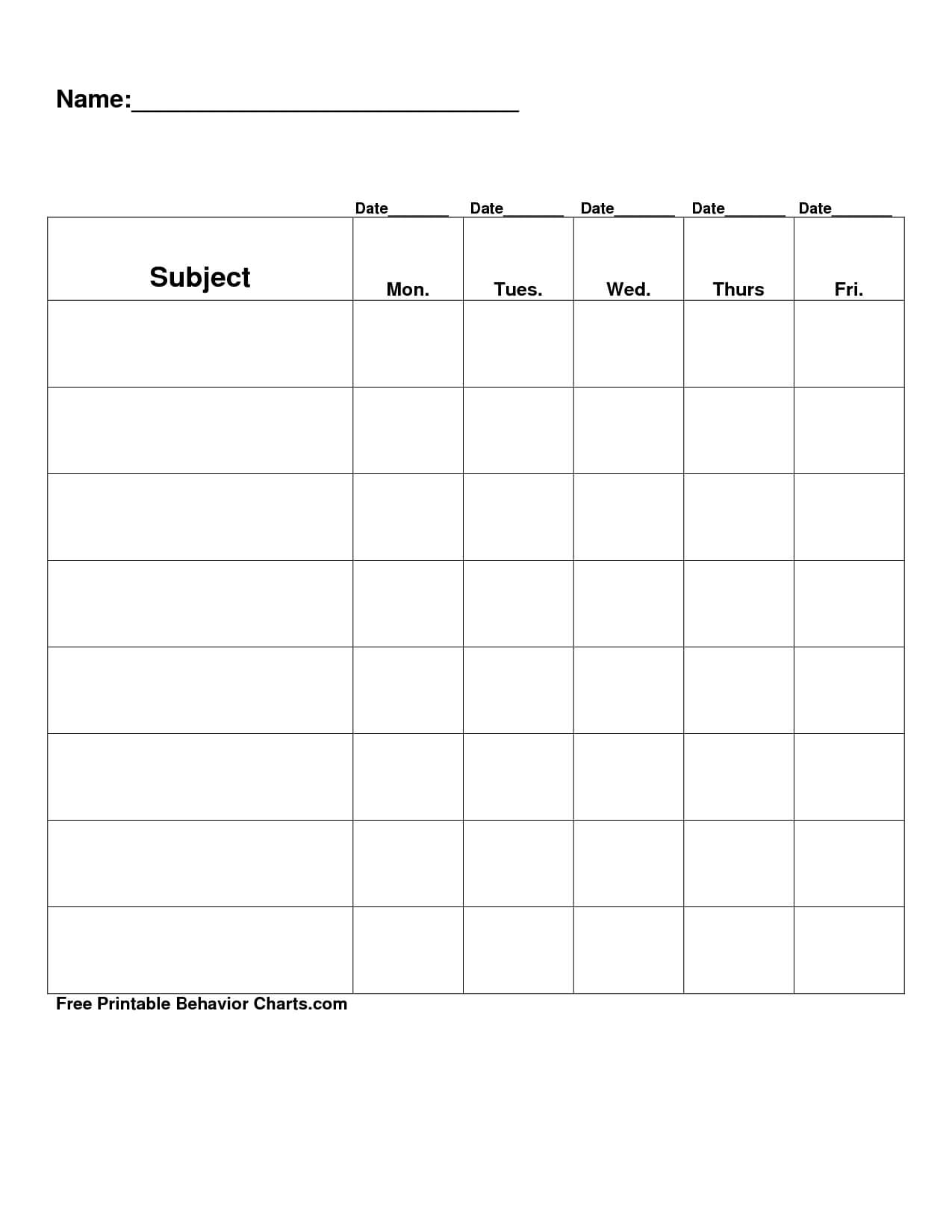 Free Printable Blank Charts | Free Printable Behavior Charts Inside Blank Reward Chart Template