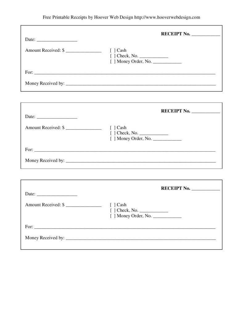 Free-Printable-Blank-Receipt-Form-Template-Page-001 pertaining to Blank Money Order Template