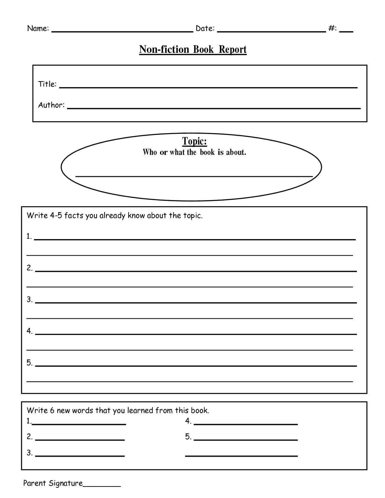 Free Printable Book Report Templates | Non Fiction Book With Nonfiction Book Report Template