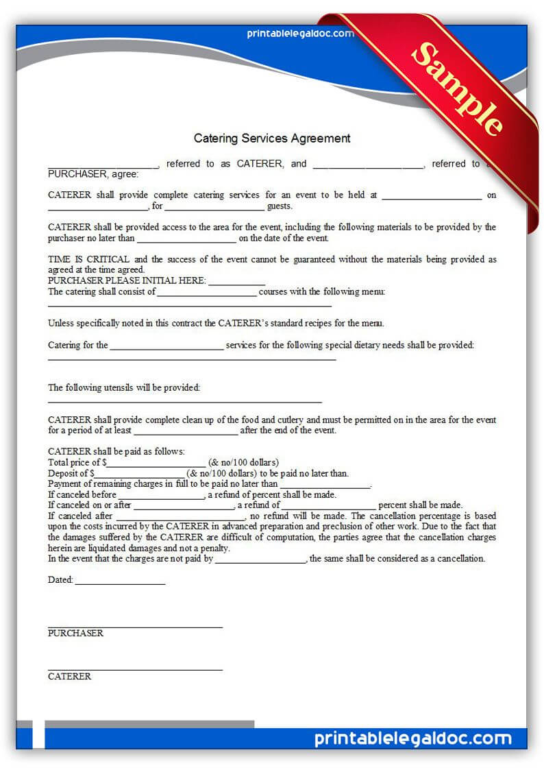 Free Printable Catering Services Agreement | Sample inside Catering Contract Template Word