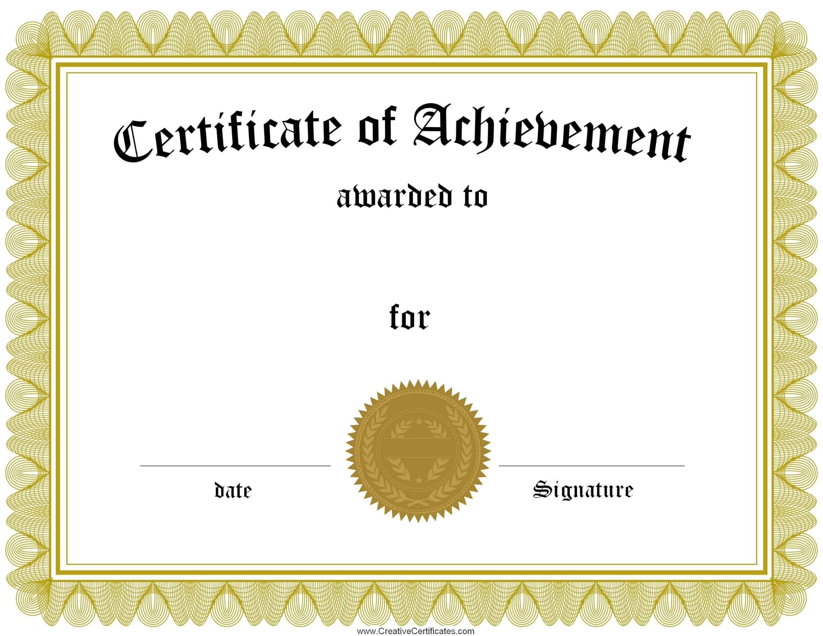 Free Printable Certificate Of Achievement Word Template inside Certificate Of Achievement Template Word