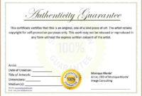 Free Printable Certificate Of Authenticity Templates | Mult intended for Certificate Of Authenticity Photography Template