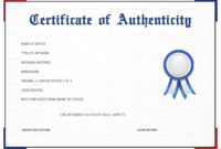 Free Printable Certificate Of Authenticity Templates | Mult within Art Certificate Template Free