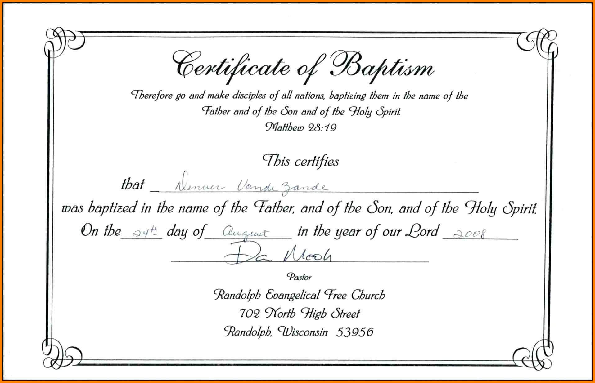 Free Printable Certificate Of Baptism | Mult Igry Intended For Baptism Certificate Template Word
