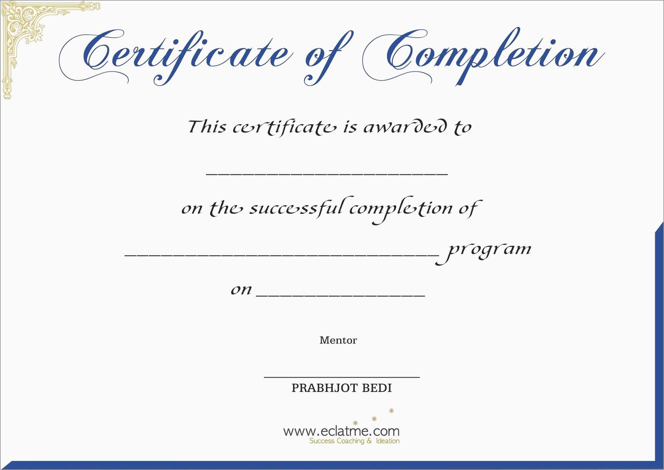 Free Printable Certificate Of Completion | Mult-Igry in Certificate Of Completion Template Free Printable