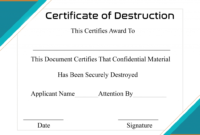 Free Printable Certificate Of Destruction Sample Intended For Free Certificate Of Destruction Template
