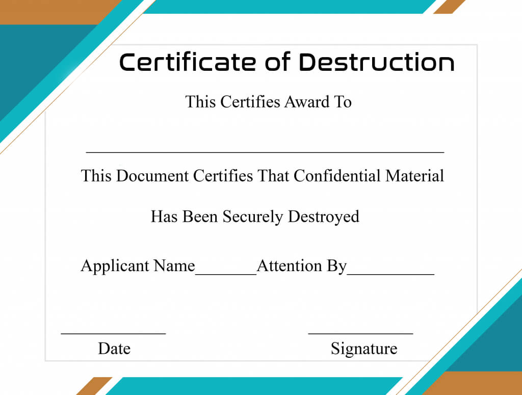 Free Printable Certificate Of Destruction Sample Within Certificate Of Destruction Template