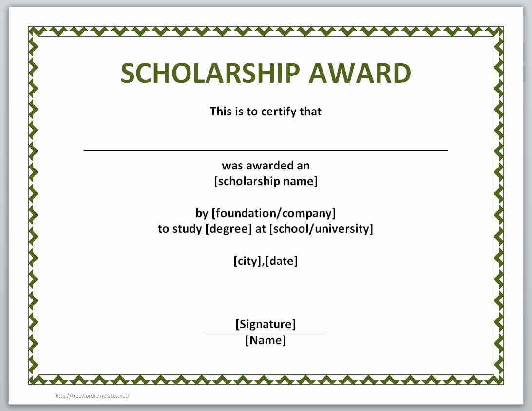 Free Printable Certificate Templates Best Of Award With Regard To Scholarship Certificate Template Word