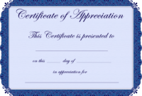 Free Printable Certificates Certificate Of Appreciation for Certificates Of Appreciation Template